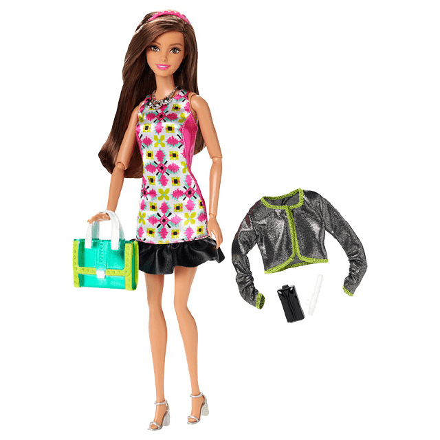Barbie Style Glam Doll with Pink Retro Print Dress CLL35